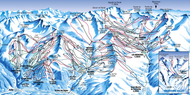 Схема лыжных трасс на